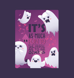 halloween night ghosts invitation vector image