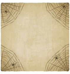 Halloween vintage background with spider web vector image