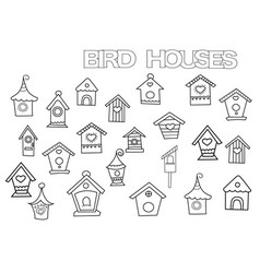 Hand drawn bird houses set coloring book page vector