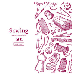 hand drawn sewing elements background vector image