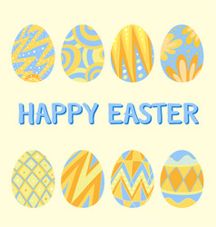 happy easter card template with blue and yellow vector image