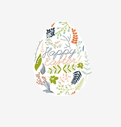 happy easter greeting card with flowers eggs vector image
