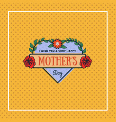 happy mothers day greeting card with blossom vector image
