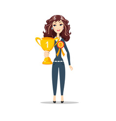 Happy woman holding winner cup vector