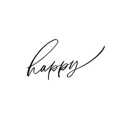 happy word brush lettering vector image