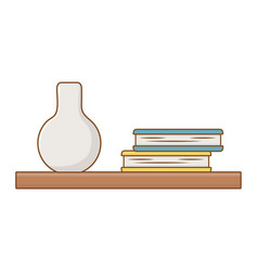 isolated shelf with books design vector image