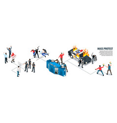 Isometric mass protest action vector
