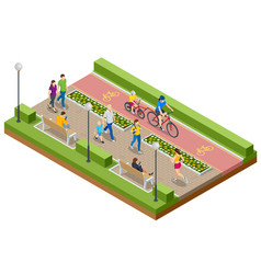Isometric people relaxing and walking in park vector
