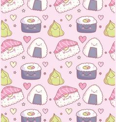 Japanese sushi wasabi delicious cartoon food cute vector