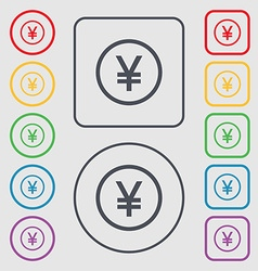 Japanese Yuan icon sign Symbols on the Round and vector