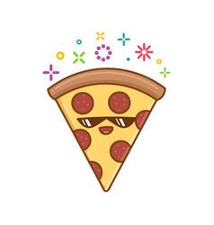 Kawaii pizza slice icon cartoon vector