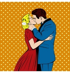 kissing couple in pop art comics style vector image