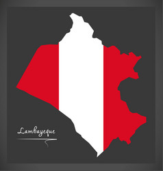 Lambayeque map with peruvian national flag vector