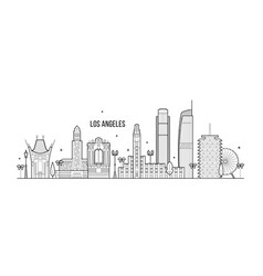 los angeles skyline usa big city buildings vector image