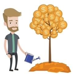 Man watering money tree vector