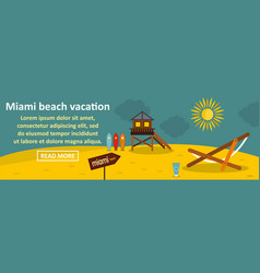 miami beach vacation banner horizontal concept vector image