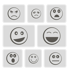 Monochrome icons smiles-balls vector