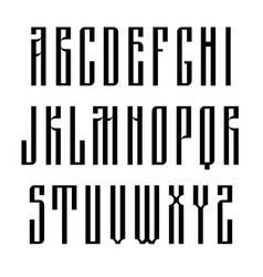 narrow sans serif font based on old slavic vector image
