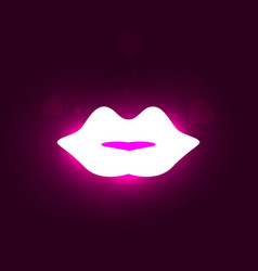 neon lips vector image