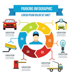 Parking service infographic concept flat style vector
