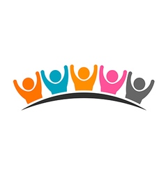 People logo group of five persons vector image vector image