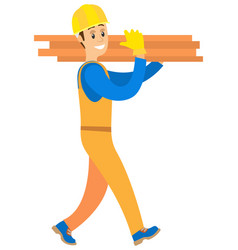 Person smiling and carrying wooden blocks vector