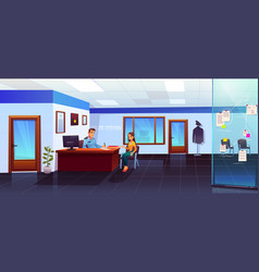 police station with policeman and girl visitor vector image
