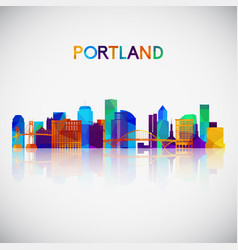 Portland skyline silhouette in colorful geometric vector