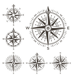 Retro nautical compass vintage rose of wind for vector
