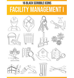 Scribble black icon set facility management i vector