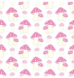 Seamless pattern with pink and polka dot amanita vector