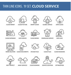 set of thin line flat icons cloud computing vector image