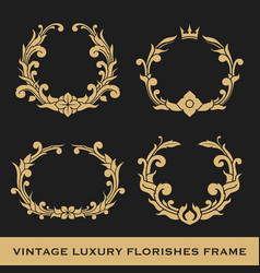 Set of vintage luxury monogram frame template vector