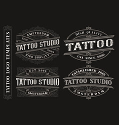 Set of vintage tattoo emblems logos badges vector