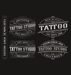 set vintage tattoo emblems logos badges vector image