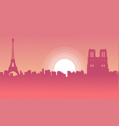 silhouette of city paris with eiffel tower scenery vector image