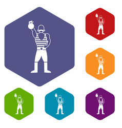 Strong man with kettlebell icons set vector