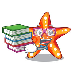 student with book underwater sea in the starfish vector image