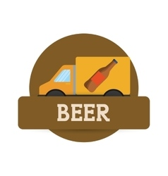 Truck beer transport delivery label vector