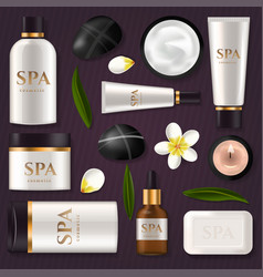tube cream or lotion spa ad pack boxes realistic vector image