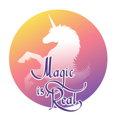 unicorn magic label vector image