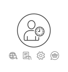user with clock line icon profile avatar sign vector image