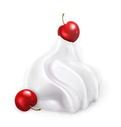 Whipped cream with berries vector