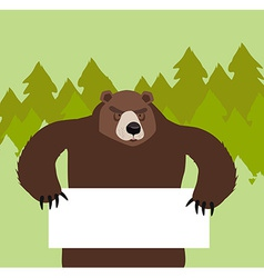 wild bear holding a signIn the forest vector image