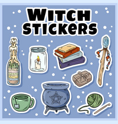 Witch stickers set collection witchcraft vector