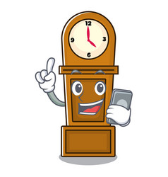 with phone grandfather clock character cartoon vector image