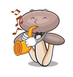 with trumpet honey agaric mushroom mascot cartoon vector image