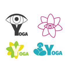 yoga logo design template with eye man silhouette vector image