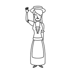 Young cartoon woman in swiss national costume vector