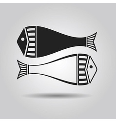black silhouette and line pair of fish vector image